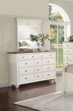 Floresville Traditional Antique White Wood Glass Dresser