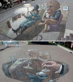 Ces œuvres street art oscillent entre l'illusion d'optique et le surréalisme