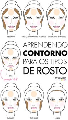 contorno para os formatos de rosto oval redondo longo diamante triangulo iluminador etc. Face Contouring, Contour Makeup, Contouring And Highlighting, Skin Makeup, Love Makeup, Makeup Art, Makeup Looks, Makeup Geek, Make Up Gesicht