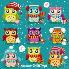 9 section of cartoon Festival OWL vector | Free download