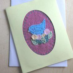 Felt Fabric Bird Card  £2.50