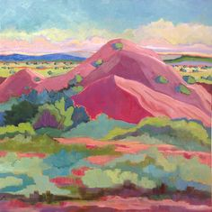 (usa) New Mexico landscape, red hill ghost ranch by Annie O'Brien Gonzales. oil on canvas. Mexico Art, New Mexico, Landscape Art, Landscape Paintings, Floral Paintings, Art Paintings, Watercolor Flowers Tutorial, Southwest Art, Southwestern Paintings