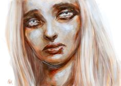 """""""Girl with silver hair 3"""" by Nathalie Ziegler/ gyossaith.  Prints avilable here: http://society6.com/NathalieZiegler/Silver-Haired-Girl-3_Print#1=45  digital painting, art, artwork, drawing, woman, girl, female, sad, sadness, portrait, portraiture, pale, pale skin, silver hair, silver, white, white hair, blue eyes, light eyes, pretty, beautiful"""