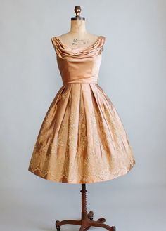 Vintage 1950s Embroidered Gold Satin Party Dress