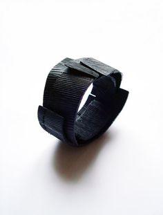 black waves bracelet Wood, cold enamel, steel,  Flóra Vági | floravagi.net