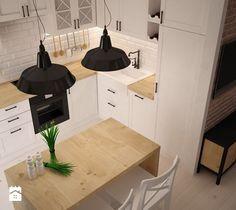 Aranżacje wnętrz - Kuchnia: ODROBINA SKANDYNAWII - Mała otwarta kuchnia w kształcie litery u w aneksie, styl skandynawski - TAKE [DESIGN]. Przeglądaj, dodawaj i zapisuj najlepsze zdjęcia, pomysły i inspiracje designerskie. W bazie mamy już prawie milion fotografii! Kitchen Dinning Room, Kitchen Living, Kitchen Decor, Condo Design, Apartment Design, House Design, Home And Deco, Scandinavian Interior, Home Decor Inspiration