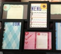 Great idea for busy couples! I didn't do this but someone did... a family organizer out of a 6 picture collage frame.