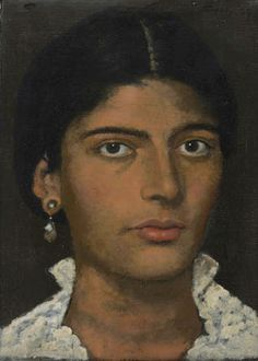 Despoina wearing a lacy blouse Paris, 1968 (Oil on cloth)