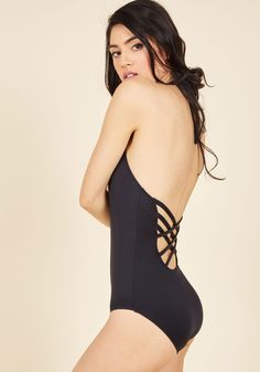 Splash It Out One-Piece Swimsuit in Black. Beach volleyball, lying in the sun, or jumping in the water? #black #modcloth