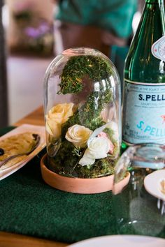 Cloche topped florals from a Secret Garden Birthday Party like no other! See this Kara's Party Ideas feature with 33 pics right here!