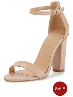 Shoe Box Daisy High Block Heeled Ankle Strap Sandals - Nude | very.co.uk
