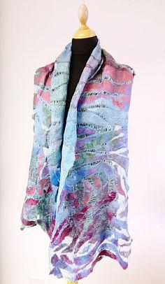 Lena Archbold creates lots of her nuno felt with Margilan silk. Margilan Silk is available to buy from her online shop. Nuno Felt Scarf, Felted Scarf, North East England, Creative Workshop, Nuno Felting, Textile Artists, Wearable Art, Burgundy, Textiles