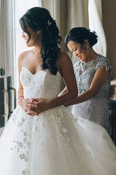 Getting ready moments with mom, glowing in Morning Glory's beautiful butterfly lace. 💕 Keep reading for Sindy's… Elegant Wedding Dress, Designer Wedding Dresses, Casablanca Bridal Gowns, Dallas Wedding, Wedding Wishes, Bridal Boutique, Bridal Style, Ball Gowns, Bride