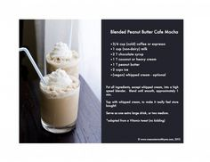 blended peanut butter cafe mocha.  Add 2 scoops of the Arbonne protein shake and daily fiber boost, and I believe you'll have a WONDERFUL dessert. Message me to get your Arbonne Protein mix! katrinahummer@yahoo.com