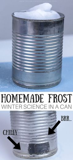 Learn how to make frost for cool winter science. We can show you how to make it frosty inside even when it's not outside! Whether you have freezing cold temperatures keeping you inside or too hot temperatures outside, you can still enjoy some simple winter science. The best part, you can enjoy it indoors! Learn how to make frost on a can for an easy science activity you can share with the kids