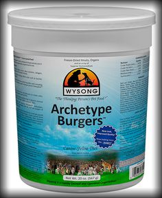 Archetype-Burgers Like the original Archetype raw formula, Archetype Burgers™ are complete with cold processed raw meats, organs, bones, collagen, prebiotics and probiotics, proteoglycans (chondroitin, glucosamine), and enhanced with phytonutrient and antioxidant-rich fruits and vegetables.