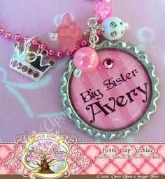 PRINCESS BIG SISTER Pink Striped Personalized Bottle Cap Bottlecap Necklace, Swarovski Crystal Crown Charm, Princess Necklace, Christmas. $16.50, via Etsy.