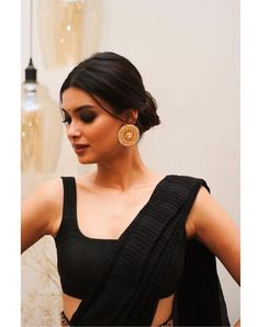 Saree dress - Painting the town black tonight! 🖤 Outfit by Jewellery jewellery Styled by HMU Indian Attire, Indian Wear, Indian Style, Indian Look, Indian Dresses, Indian Outfits, Indian Clothes, Moda Indiana, Diana Penty