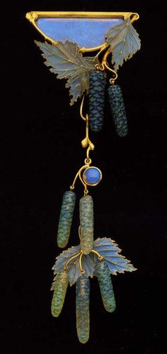 Lalique Leaf and long fir cone brooch