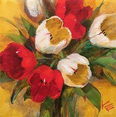 "Daily Paintworks - ""Happy Tulips"" - Original Fine Art for Sale - © Krista Eaton"