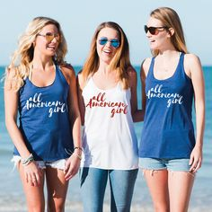 All American Girl - 4th of July Tank Top - USA Clothing - America Shirt - Forth of July Shirts - Patriotic Tank Top - Forth of July Outfit by SpunkyPineappleCo on Etsy
