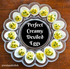 These perfect creamy deviled eggs are a crowd favorite for holiday gatherings, potlucks and picnics! #fourthofjulyfood #fourthofjulyrecipe
