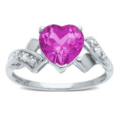 Heart-Shaped Lab-Created Pink Sapphire Ring with Diamond Accents in 10K Gold available at #HelzbergDiamonds