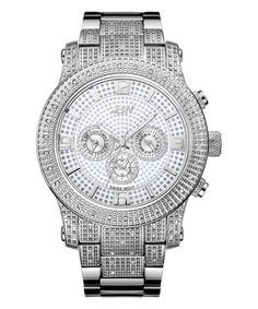 Silvertone Crystal Lynx Chronograph Watch #zulily #zulilyfinds
