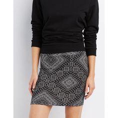 Charlotte Russe Printed Bodycon Mini Skirt ($6.59) ❤ liked on Polyvore featuring skirts, mini skirts, black combo, embellished pencil skirt, mini skirt, body con skirt, short bodycon skirt and short skirts
