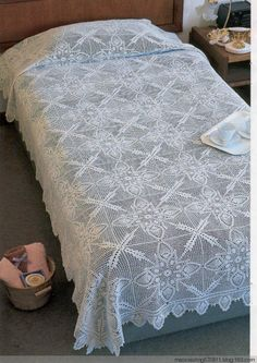 Crochet pineapple bedspread ♥LCB♥ with diagram. You must scroll down to fin the corresponding diagram ---- Trabajos de piñas a crochet con diagram.