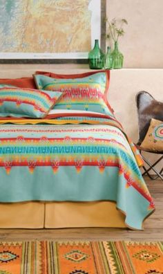 Coyoacan Blanket Collection, and fancy fine art on the wall - pretty colors for Spring!