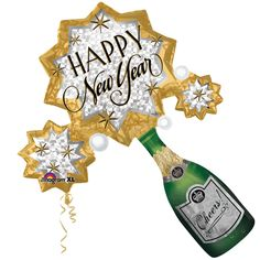 New Year Champagne Burst balloon, nye party decor