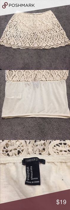 Crochet Tube Top Forever 21 Tube top. Size medium. Worn once. Color is an off white/cream color. Forever 21 Tops