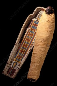 Egyptian mummy. Restored sarcophagus and mummy of Nemenket Amen. This mummy was given to the Mechitarist monks on the island of San Lazzaro degli Armeni, Italy, in 1825. It is thought to have been a priest of the god Amun. Photographed on San Lazzaro island, in 2006. Egypt Mummy, Egyptian Mummies, Ancient Egypt, Priest, Restoration, Louvre, Italy, San, Italia