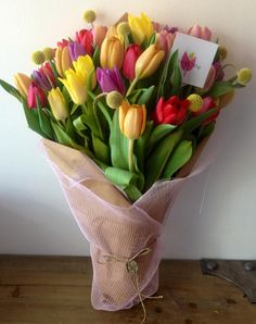 Beautiful Bouquet Of Flowers, Tulips Flowers, Exotic Flowers, Love Flowers, Spring Flowers, Tulip Bouquet, Bouquet Wrap, Hand Bouquet, Bloom Baby