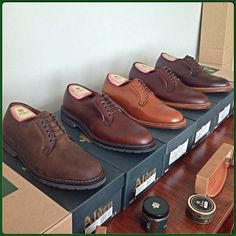 IG user @oldturd asked us for pictures of the Alden Plain Toe Blucher in brown. We carry quite a few shades of brown, so here there are, from left to right: 1. Barrie Last Tobacco Style #: 9431S 2. Barrie Last Brown Chrome Excel Style #: 9432S 3. New Dark Tan Style #: 9528 4.  Brown Chrome Excel Style #: 95080 5. Dark Brown Smooth Style #: 99026 Hope we included the shoe you were looking for! #alden #theshoemart #tsm  #aldenarmy | Follow us on IG as @The Shoe Mart | Alden at…