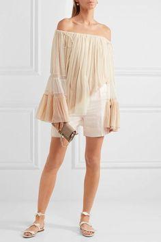 Chloé - Linen And Silk-blend Twill Shorts - Ivory - FR44