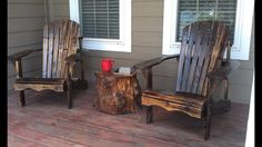 Elm Log coffee Table stained to match the 2 Adirondack Chairs