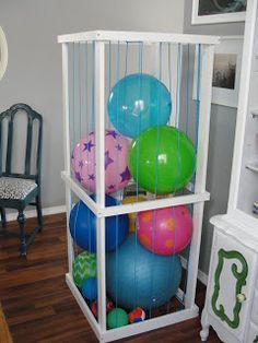 Might Make This One For Work But Iu0027ll Use Bungee Cords Instead Of Rope · Ball  StorageToy StorageStorage IdeasGarage ...