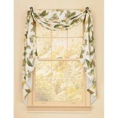 Window Curtain   Fishtail Swag   Botanica   Park Designs   Green Ivory    Leaves
