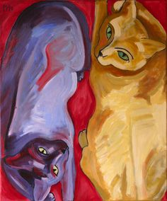 """Cyrus Mejia - Artist in residence, Best Friends Animal Sanctuary in Kanab, UT. """"Yin and Yang"""" cat print is part of his Art for the Animals collection."""