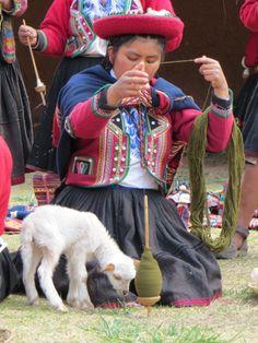 Girl spinning in preparation for weaving. Peru. Repinned by Elizabeth VanBuskirk