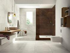 Wood Look Tile Bathroom for Warm Decor — Honey Shack Dallas Wood Look Tile Bathroom, Ceramic Tile Bathrooms, Brown Bathroom Decor, Grey Bathrooms, Bathroom Colors, Bathroom Flooring, Wall Tile, Bathroom Ideas, Tile Bedroom