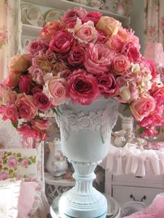 PInk roses in floral swag urn | by mylulabelles