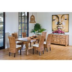 Rattan Shack Pegasus Indoor 7 PC Rattan & Wicker Dining Set with Six Side chairs Rectangular base in Natural Finish - Pegasus Collection - Dining Room - Indoor Furniture | Wicker & Rattan Indoor Furniture