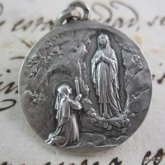 Vintage Our Lady of Lourdes Apparitions - Religious Catholic Medal - France by LaetareRejoice on Etsy