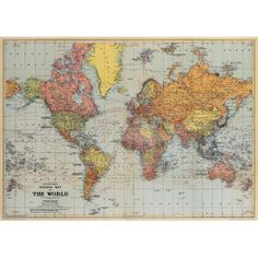 World Map Vintage Style X Dry Mounted Poster Wood Framed - World map poster vintage style