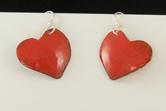 Little Bright Red enamel earrings on Sterling Silver ear wires 2499