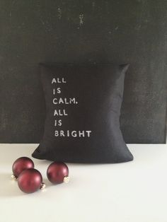 Linen Holiday Pillow WITH Insert - all is calm all is bright - #etsy #forsale #giftideas #black #minimalist #modern #holidaysyouandme #giftsunder100 starting at $60