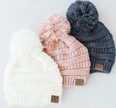 Beanies are a best seller and these Pom beanies are sure to be a customer… Beautiful wintry pompom hats Fall Winter Outfits, Autumn Winter Fashion, Winter Hats, Cute Hats, Christmas Fashion, Beanie Hats, Beanies, Girl Beanie, Cc Beanie